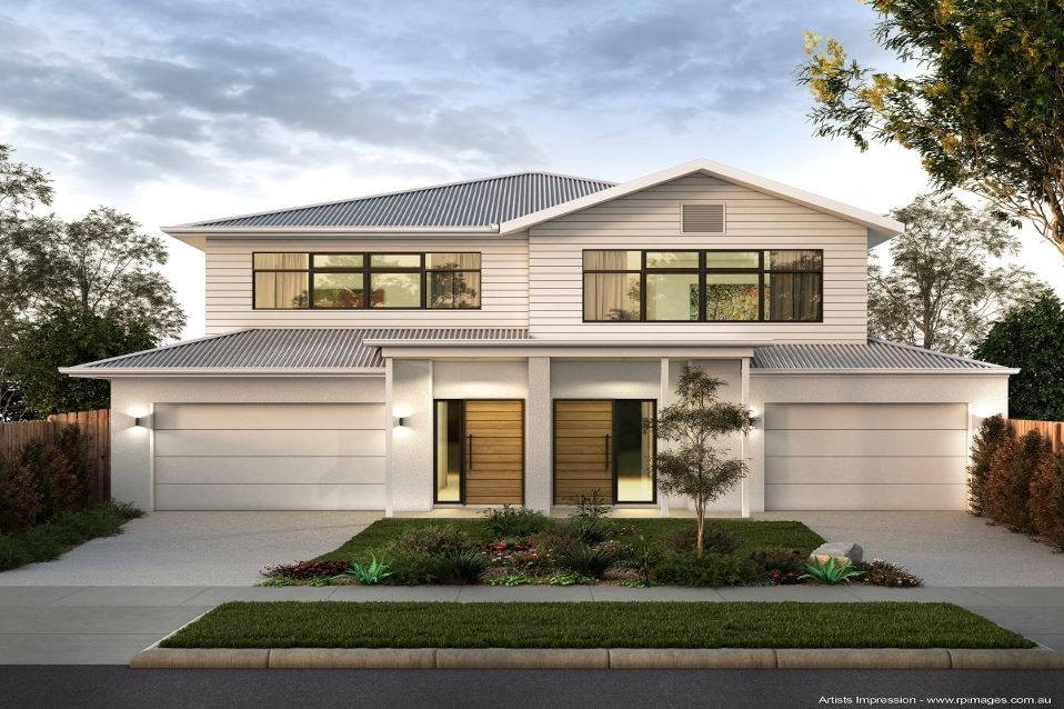 Geelong dual occupancy units designed with Modern Australian facade